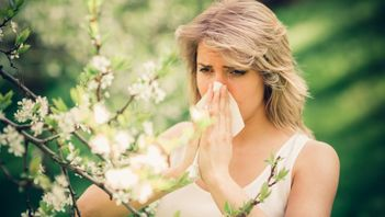 woman with allergies blowing her nose looking at a flowering tree full of pollen